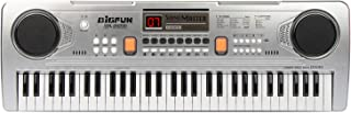 BIGFUN 61 Keys Multifunction Portable Electronic Kids Piano Musical Teaching Keyboard for Kids Children Early Learning Educational Toy with Double Speakers (Silver)