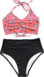 Women's This is Love High Waisted Lace Up Halter Bikini Set, Pink