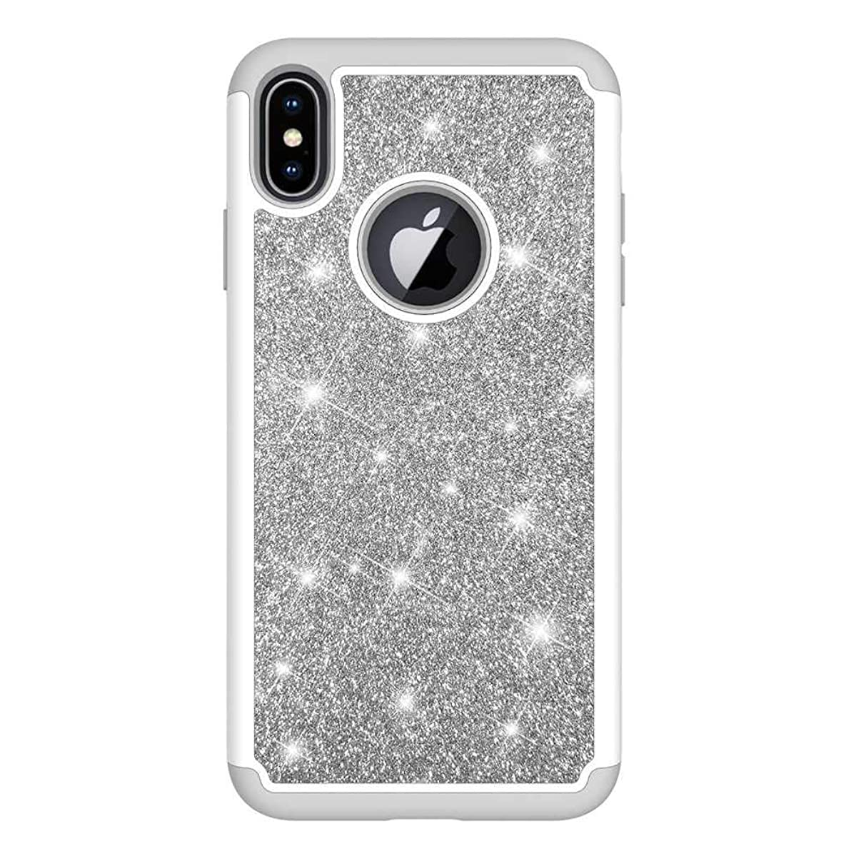 松の木知人暗殺者iPhone XS Max ケース, CUNUS Apple iPhone XS Max プレミアム シリコン ケース, おしゃれ かわいい 耐衝撃 PC 背中の キラキラ保護カバー, シルバー