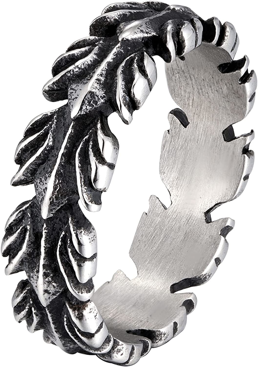 Rings fro Women Stainless Steel Feathers Vintage Band Rings Jewelry US SIZE 12