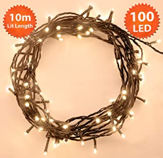 ANSIO Christmas String Lights 100 LED 10m Warm White Indoor/Outdoor Fairy Lights Tree Lights Festival/Bedroom/Party Decorations Memory Mains Powered 32ft Lit Length 3m/9ft Lead Wire Green Cable