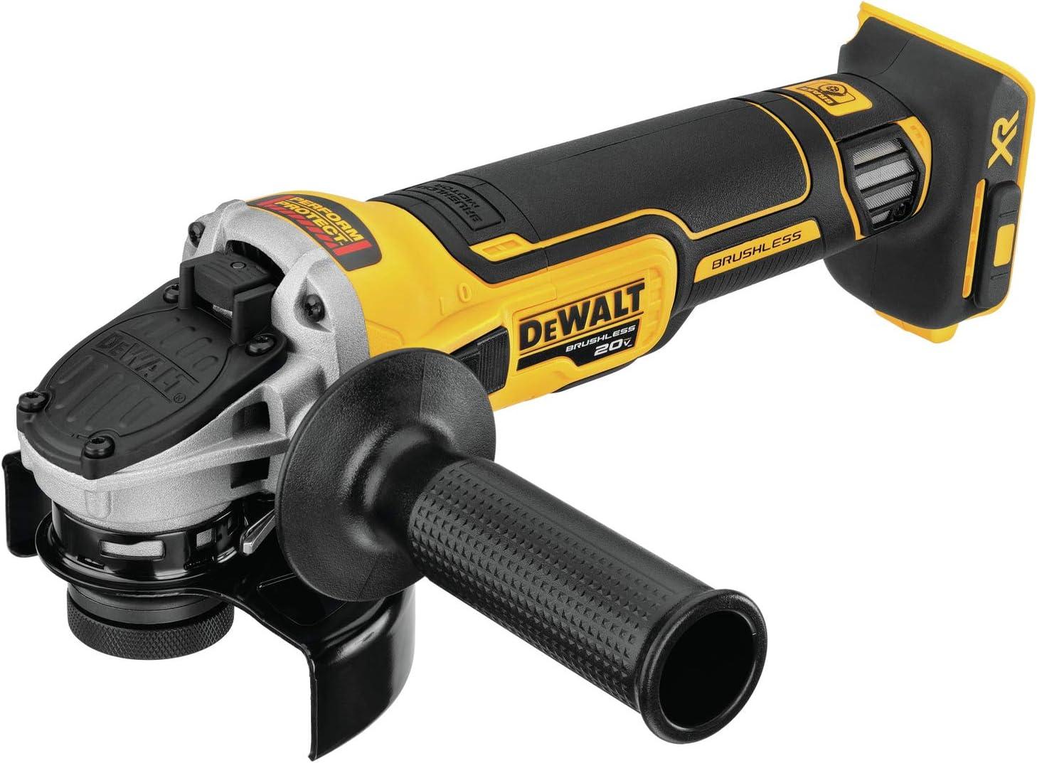Dewalt 20V Max Xr Angle Grinder With Kickback Brake, Slide Switch, 4-1/2-Inch, Tool Only (Dcg405B)