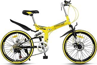 "22"" Full Suspension Folding Mountain Bike 7 Speed Shimano Transmission Bicycle Men or Women MTB Foldable Frame,Folding Mou..."
