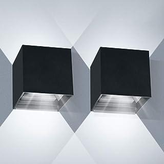 Applique Murale Interieur 12W 2pcs LED Applique Murale Exterieur 6000K Angle de Faisceau réglable Appliques Murales IP65 L...