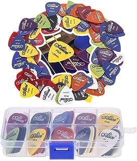 Guitar Picks, DELFINO 100 Pcs Acoustic Electric Guitar Picks Plectrum With Case Various Colors 6 thickness 0.58/0.71/0.81/...