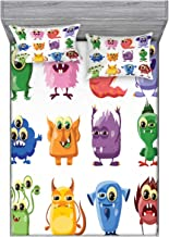 Ambesonne Funny Fitted Sheet & Pillow Sham Set, Animated Bacteria Aliens Theme Germ Whimsical Cartoon Monsters Humor Faces Graphic, Decorative and Printed 3 Piece Bedding Set, Queen, Purple Green