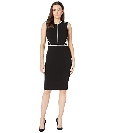 Calvin Klein Sheath Dress with Piping Detail CD8C13A1 (Black/Cream) Women