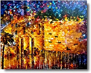 iFine Art ' Jerusalem Jewish ' Wall Art Framed Oil Paintings Printed on Canvas for Home Decorations Home Decor Modern Artwork Hanging for Living Room Bedroom, Ready to Hang