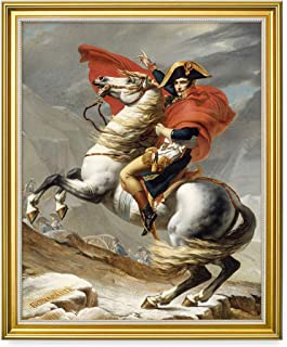DECORARTS - Napoleon Crossing The Alps, Jacques Louis David Classic Art. Giclee Prints Framed Art for Wall Decor. 16x20, Total Size w/Frame: 18.5x22.5