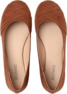 Ataiwee Women's Ballet Flats - Simple Casual Cozy Round Toe Slip-on Walking Shoes.