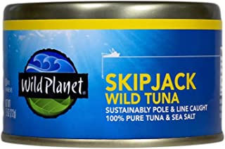 Wild Planet Skipjack Wild Tuna, Sea Salt, Keto and Paleo, 3rd Party Mercury Tested, 7.5 Ounce (Pack of 12)