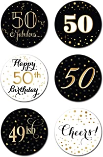 50th Birthday Party Favor Stickers (Pack of 324) - 50 Year Old Labels Decorations Supplies - Gold, Black and White