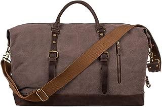 LITTLE TREE-AU S-Zone Oversized Canvas Genuine Leather Trim Travel Tote Duffel Shoulder Weekend Bag Weekender Overnight Carryon Handbag (Coffee)