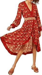 Women's Long Sleeve Vintage Floral Print High Low Asymmetric A-Line Dresses