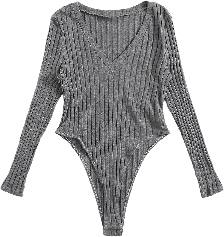 SOLY HUX Women's Plus Size V Sleeve Bodysu Ribbed Max 88% OFF Long Neck unisex Knit