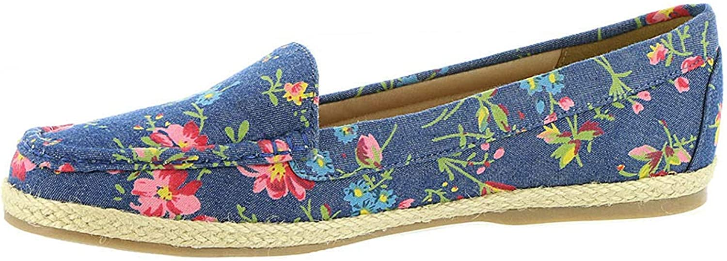 Beacon Womens Jessie Fabric Closed Toe Loafers Denim-Floral Size