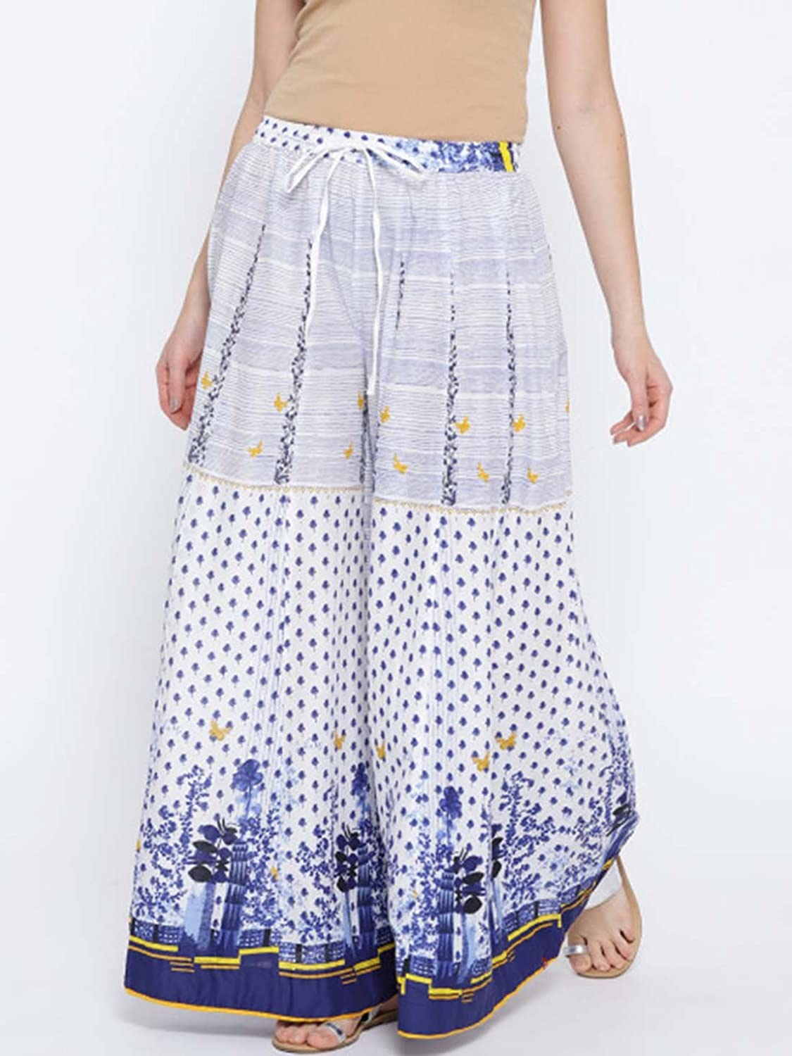 Indian Handicrfats Export Biba Women White & bluee Printed Flared Palazzos