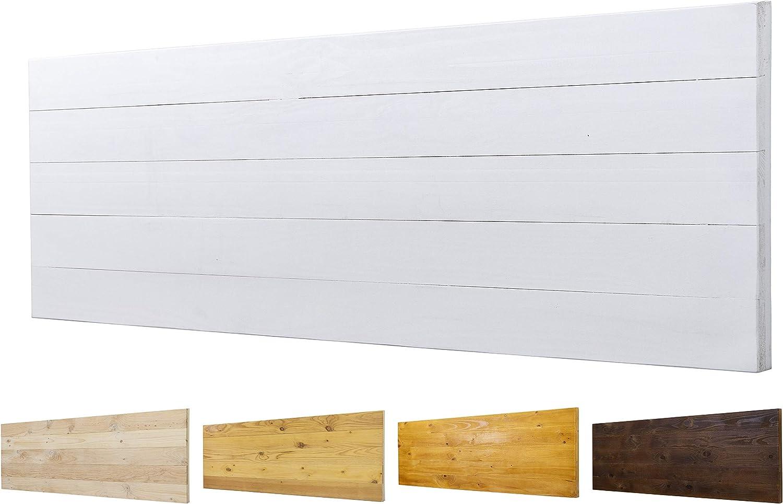 Cabecero Ancho 60cm de Madera Maciza Mod. Roma para Camas de 80cm, 90cm, 110cm, 135cm, 150cm. Herrajes incluidos (160cm X 60cm, Blanco)