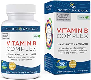 Nordic Naturals Vitamin B Complex - 45 Capsules - Thiamine, Riboflavin, Niacin, Vitamin B6 & B12, Folate, Biotin, Pantothe...