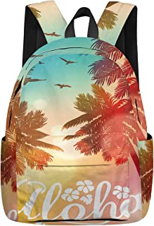 Casual Backpack Tropical Beach Themed Unisex College School Book Bag for Teens Boys Girls, Hawaii Autumn Durable Carry Bag for Day Trips Mountain Sports Daypacks