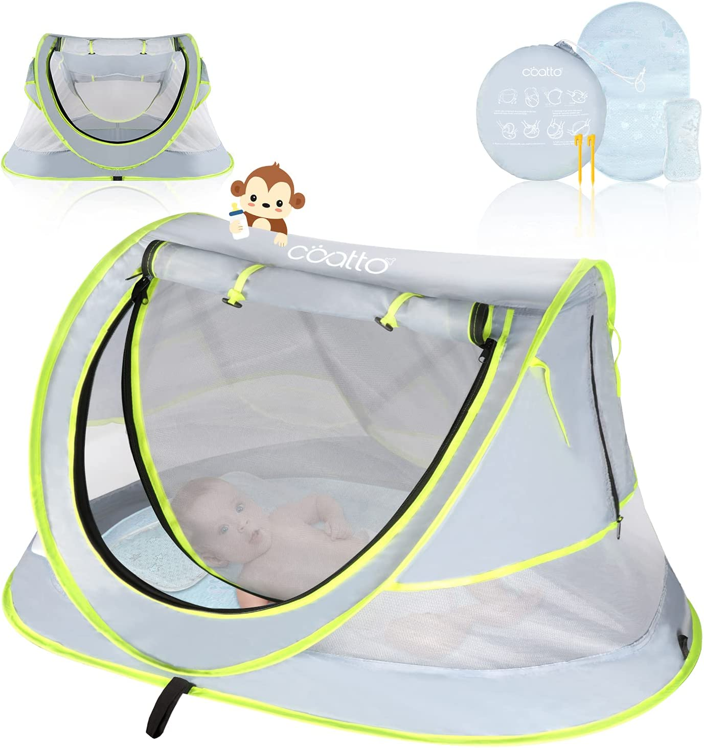 Portable Baby Tent, CCATTO Pop Up Beach Tent for Baby, Enhanced Ventilation, UPF 50+ Sun Shelter for Infant, Baby Camping Bed with Mosquito Net (Pegs, Travel Bag, Bonus Cooling Sleeping Kit Included)