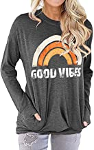 Nlife Women Good Vibes Blouse Hoodies Long Sleeve Casual Fall Tops Graphic Tee Shirt Sweaters for Women