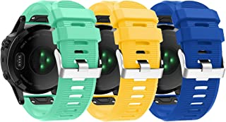 Compatible with Garmin Fenix 6X Pro Watch Bands for Women Men, Fenix 5X Plus Band, 26mm Easy Fit Silicone Replacement Band...