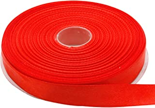 Topenca Supplies 5/8 Inches x 50 Yards Double Face Solid Satin Ribbon Roll, Red