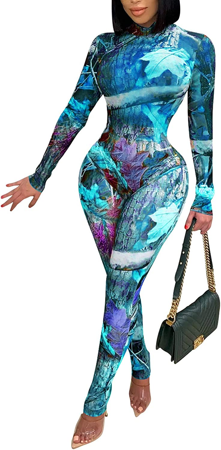 ECHOINE Womens Sexy See Max 68% OFF Through Jumpsuit Mesh High Neck - Deluxe Sheer