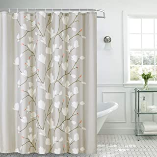 Shower Curtain Fabric Grey Flowers with Hooks Bath Curtain Waterproof, 72×72 INCH