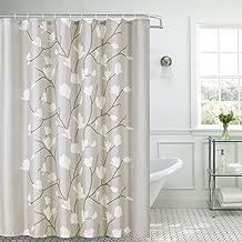 Shower Curtain Fabric Grey Flowers with Hooks Bath Curtain Waterproof, 72x72 INCH