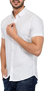 U-TURN Men's Cotton Solid Half Sleeve Shirt