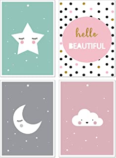 ANBER Cute Moon Star Cloud Wall Art Canvas Nordic Posters Nursery Prints for Baby Room Painting Picture Kids Bedroom Decoration, Set of 4 Unframed