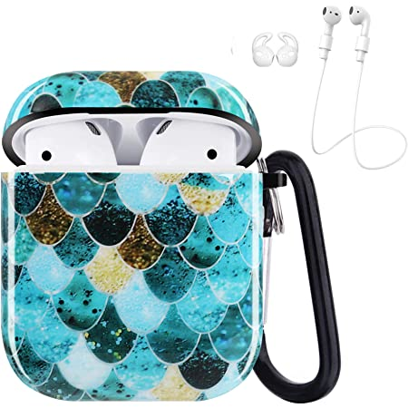 iCasso Airpods Case, Shockproof Protective Soft Case Cover with Keychain Compatible with AirPods 2/1, Full Protective TPU Case for Airpods Charging Case Airpods Accesssories - Sequined Mermaid