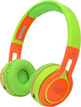 Contixo KB2600 Kids Over The Ear Foldable Bluetooth Headphones Kids Safe 85dB with Volume Limiter, Built-in Microphone, Micro SD Card Slot, FM Stereo Radio, Phone Controls (Green + Orange)