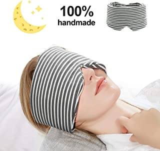 isnowood Cotton Sleep Mask - 100% Handmade Light Blocking Eye Mask for Woman Man Kids, Adjustable Blinder Blindfold with Travel Pouch for Airplane, Camping, Travel, Shift Work (Gray)