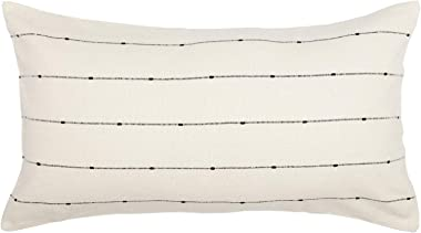 "Piper Classics Farmcloth Stripe King Pillow Sham, 21"" x 37"", Urban Rustic Farmhouse Bedding, Natural Cream w/Black Stripes Pillow Cover"