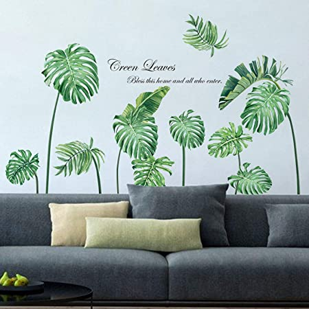 decalmile Pegatinas de Pared Planta Tropicales Vinilos Decorativos Palmera Hojas Verde Adhesivos Pared Salón Habitación Dormitorio Oficina