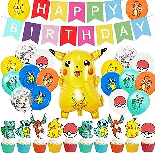30Pcs Cumpleaños Pokemon - ZSWQ Suministros Fiesta Cumpleaños Pokemon, para Niños y Niños Decoración Cumpleaños Pikachu In...