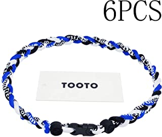 TOOTO Pack of 6 Sport Style Tornado Titanium Necklace Three Colors Braided Rope Baseball Necklace-20 Length