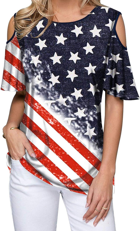 MK Shop Limited Women Cold San Antonio Mall Shoulder Shirt St Stars Flag New sales American