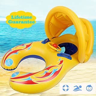 punada Baby Pool Float with Canopy Inflatable Swimming Floats for Kids (Mommy&Baby)