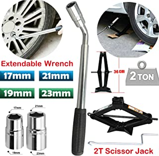 Andux Spare Tire Tool Double End Socket Wrench Car Lug Wrench Replacement Kit Metric CXBS-01 24-27mm
