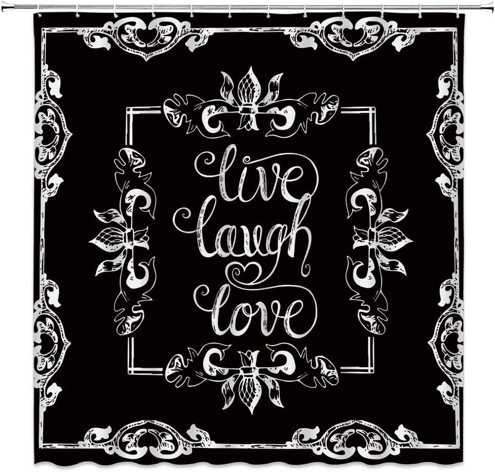 Live Laugh Love 発売モデル Shower Motivational 人気上昇中 Black Curtain Inspirational