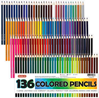 Shuttle Art 136 Colored Pencils, Soft Core Color Pencil Set for Adult Coloring Books Artist Drawing Sketching Crafting