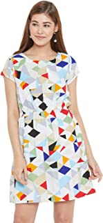 AASK Women's White and Multicolor Geomatric Printed Crepe Tunic (US_1255)