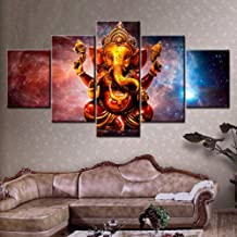 XIXISA 5 Pieces Hindu God Ganesha with Cosmic Planet Canvas Pictures HD Printed Wall Art for Living Room Decor Posters/Unframed