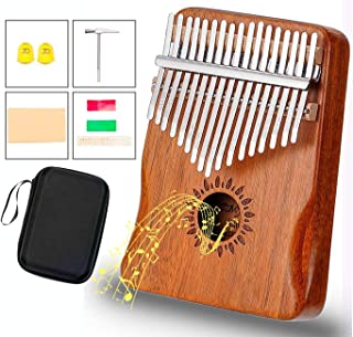 CMflower Kalimba 17 Key Thumb Piano Upgrade Design Acacia Wood Protective Case Tune Hammer Portable Handmade African Musical Instrument for Kids Adult Beginners Professionals
