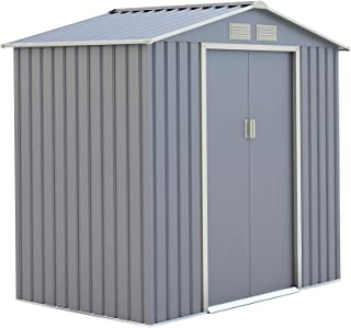 Garden Metal Shed (213 x 127 x 195 cm, Light Gray)