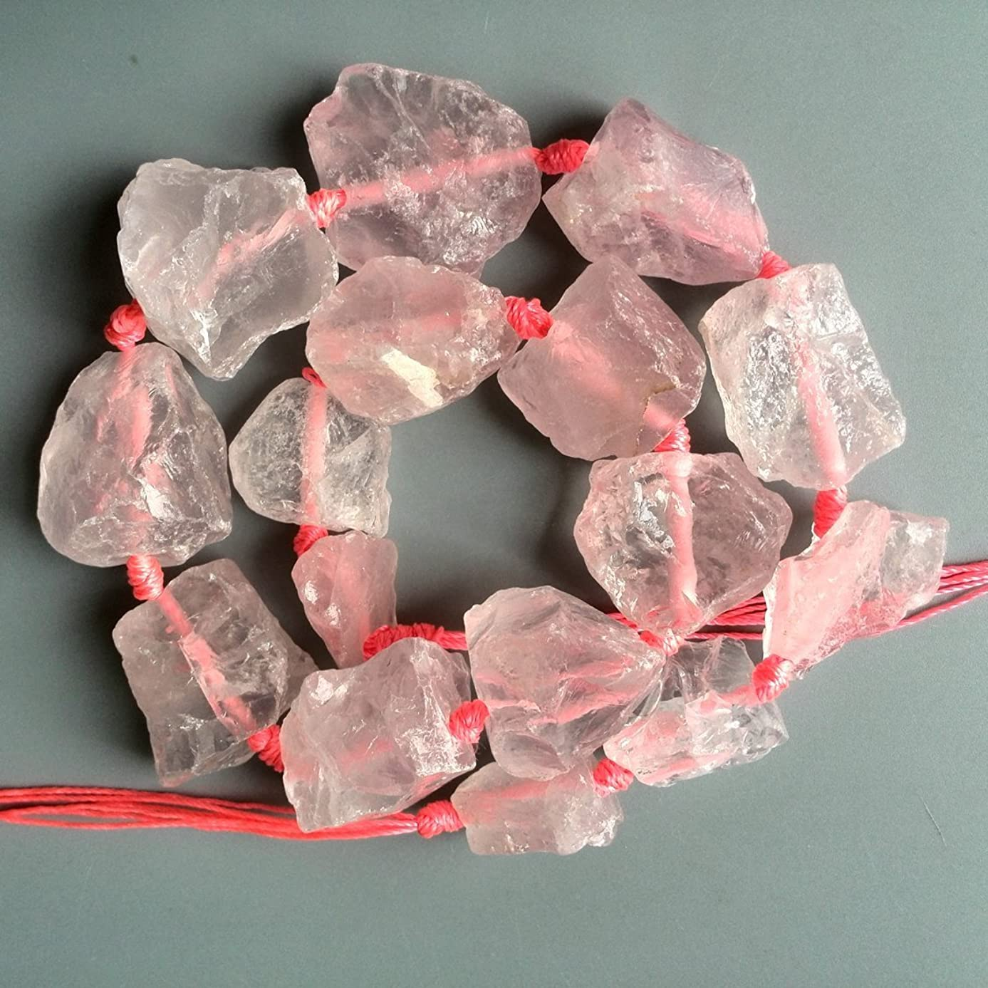 Natural Rose Quartz Nuggets Beads Rough Raw Pink Crystal Stone Beads Center Drilled Supplies for jewelry making